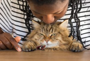 Person with thin dreadlocks kissing their pet cat on the top of its head