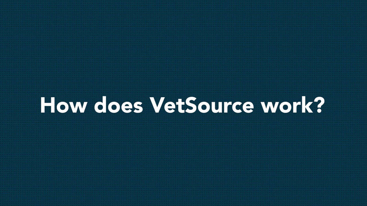 Screenshot of white text on navy background: How does Vetsource work?