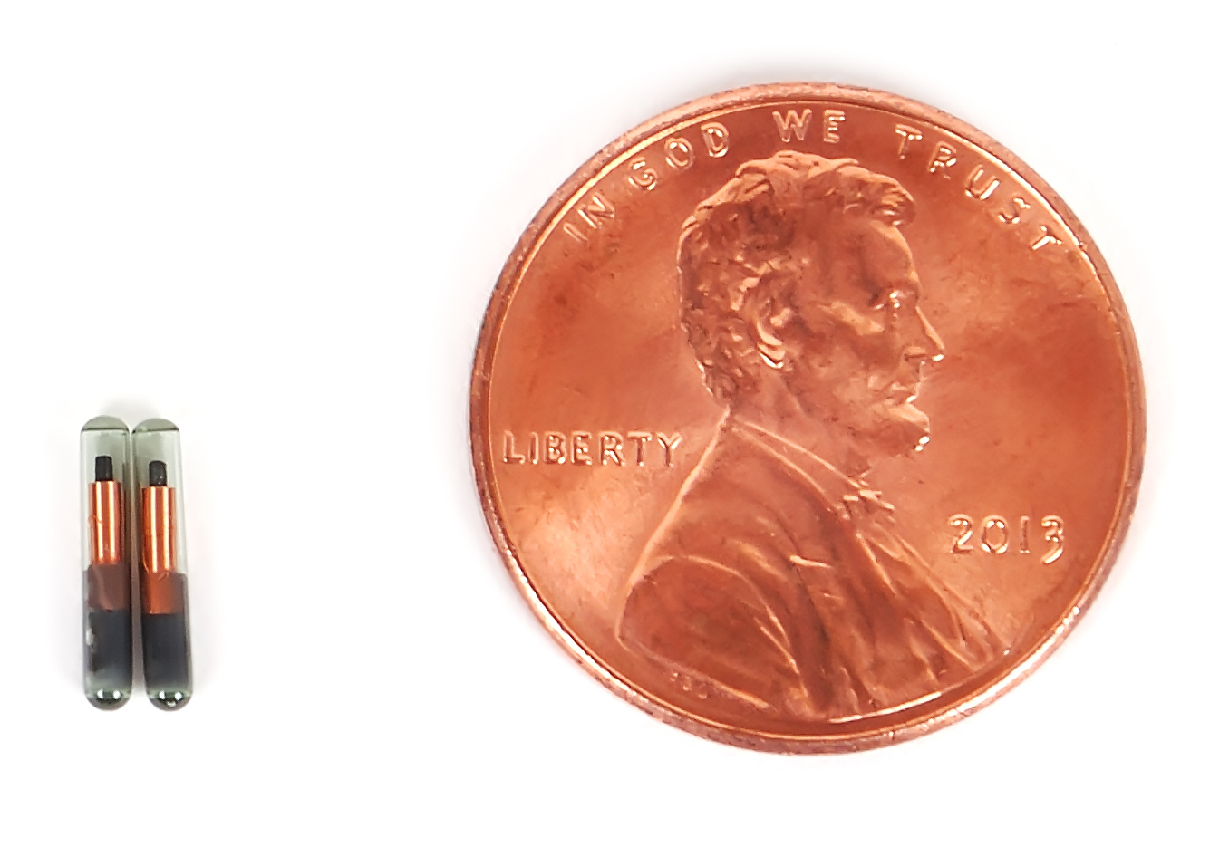 microchip size compared to a penny