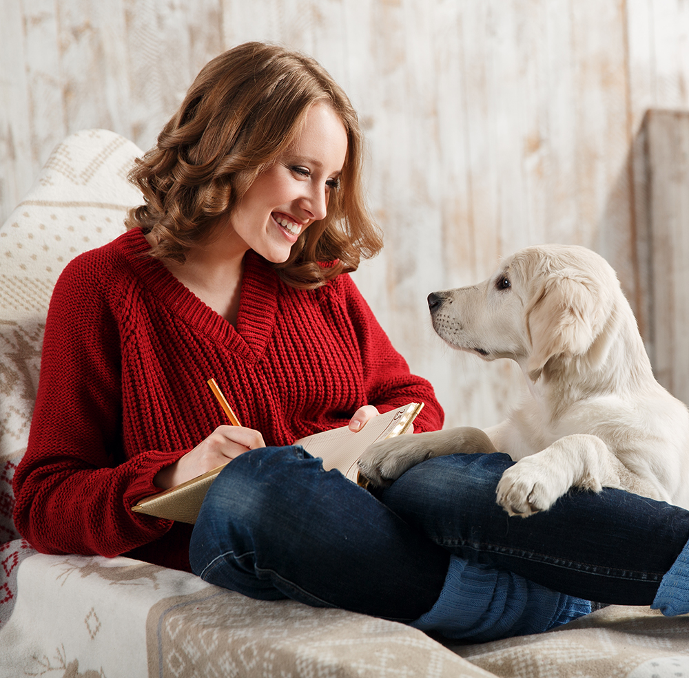 woman with puppy