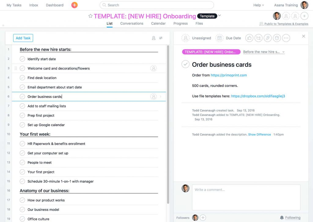 screenshot of a sample project template in Asana, showing different tasks and details