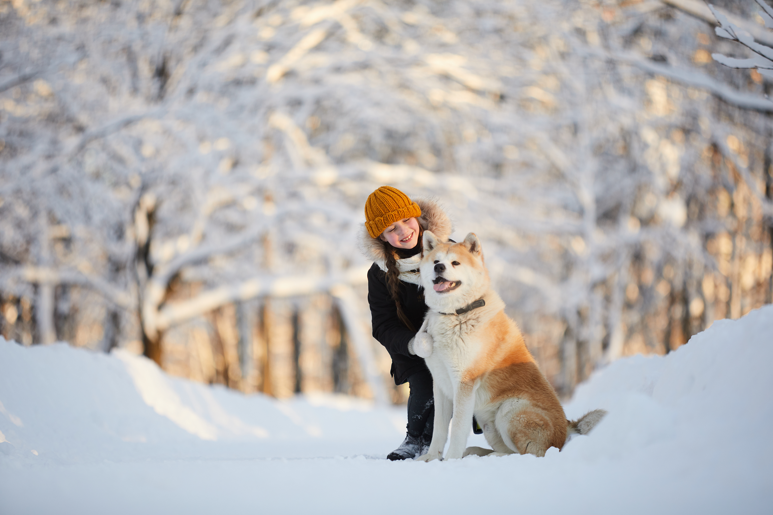 girl with her dog on a snowy day